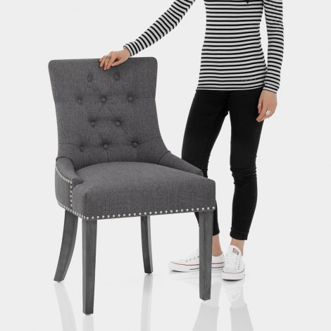 Etienne Dining Chair Charcoal Fabric Features Image