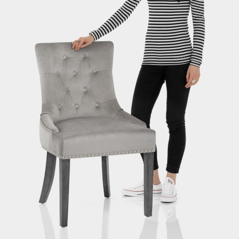 Etienne Dining Chair Grey Velvet Features Image
