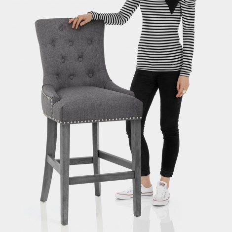 Etienne Bar Stool Charcoal Fabric Features Image