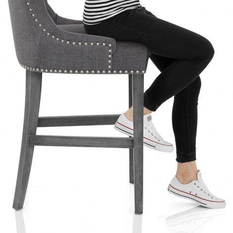 Etienne Bar Stool Charcoal Fabric Frame Image