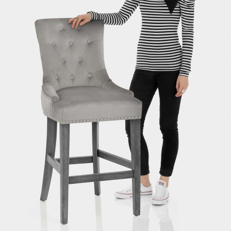 Etienne Bar Stool Grey Velvet Features Image