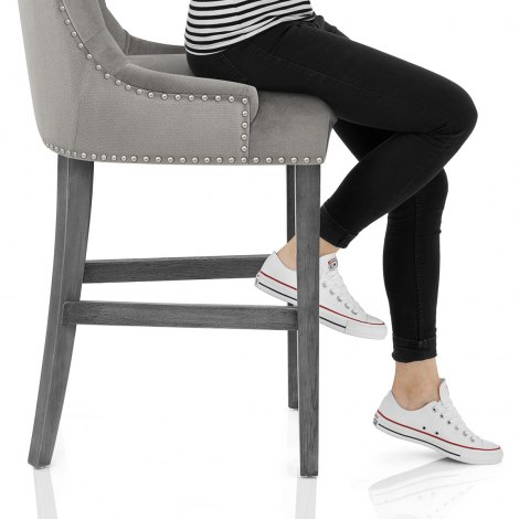 Etienne Bar Stool Grey Velvet Seat Image