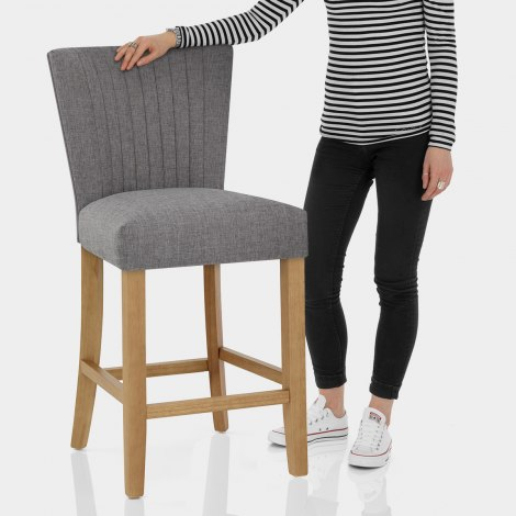 Eton Oak Stool Charcoal Fabric Features Image
