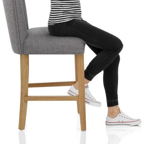 Eton Oak Stool Charcoal Fabric Seat Image