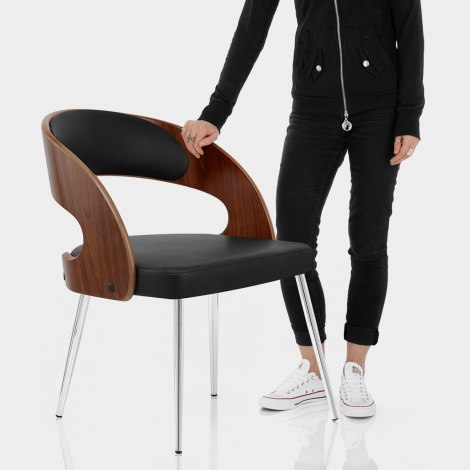 Evans Dining Chair Walnut & Black Features Image