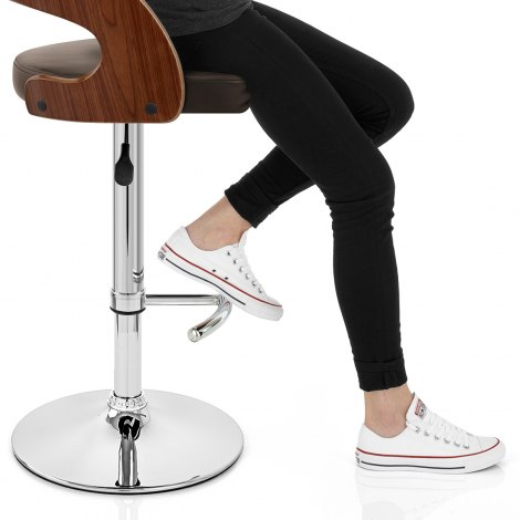 Eve Wooden Bar Stool Brown Seat Image