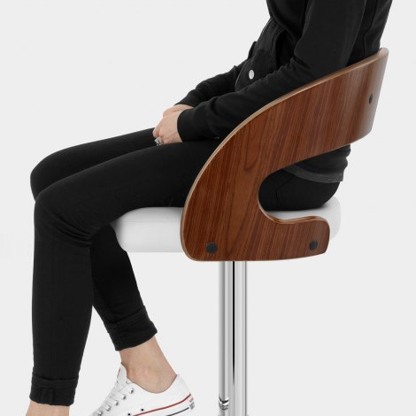 Eve Wooden Bar Stool White Seat Image