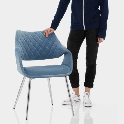 Fairfield Chrome Chair Blue Velvet Features Image
