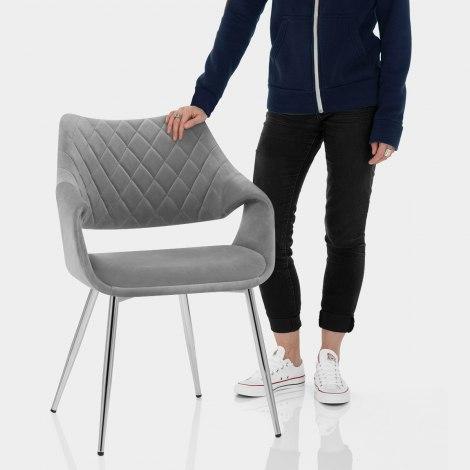 Fairfield Chrome Chair Grey Velvet Features Image