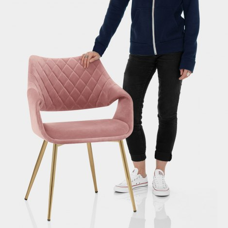 Fairfield Gold Chair Pink Velvet Features Image