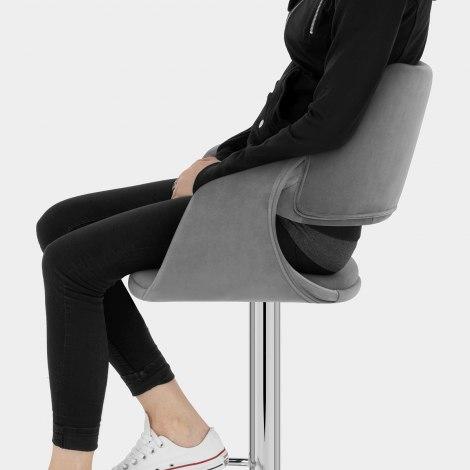 Fairfield Bar Stool Grey Velvet Seat Image