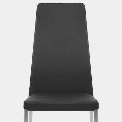Faith Brushed Chair Black Faux Leather Seat Image