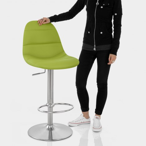 Ferrero Brushed Steel Bar Stool Green Features Image