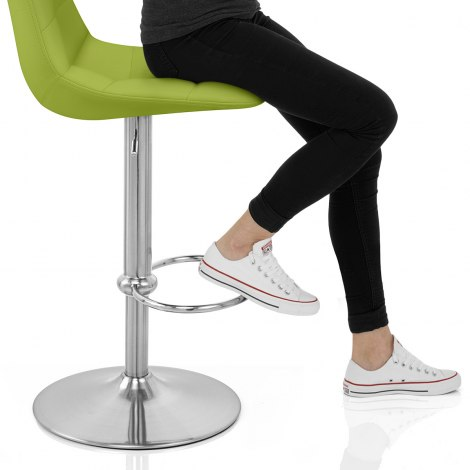 Ferrero Brushed Steel Bar Stool Green Seat Image