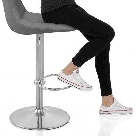 Ferrero Brushed Steel Bar Stool Grey Seat Image