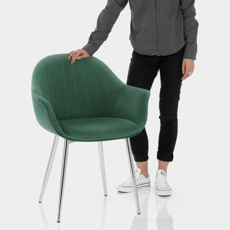 Flare Dining Chair Green Velvet Features Image