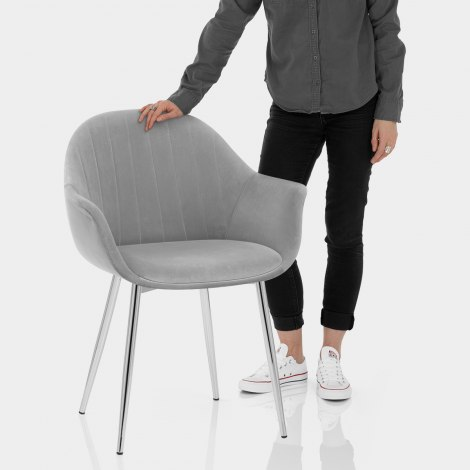 Flare Dining Chair Grey Velvet Features Image