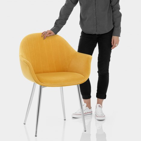 Flare Dining Chair Mustard Velvet Features Image