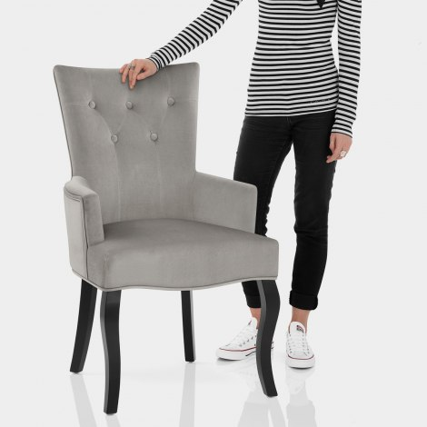 Fleur Chair Grey Velvet Features Image