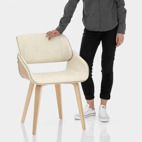 Flint Oak Chair Cream Features Image
