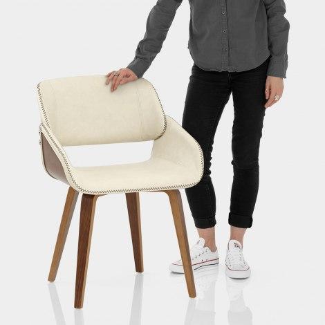 Flint Walnut Chair Cream Features Image