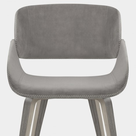 Flint Wooden Chair Grey Velvet Seat Image