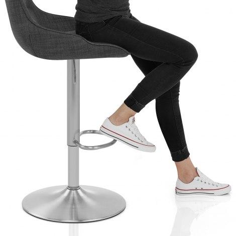 Florida Brushed Stool Charcoal Fabric Seat Image