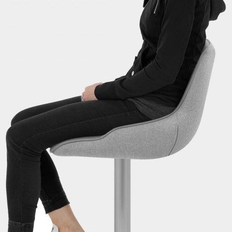 Florida Brushed Stool Grey Fabric Seat Image
