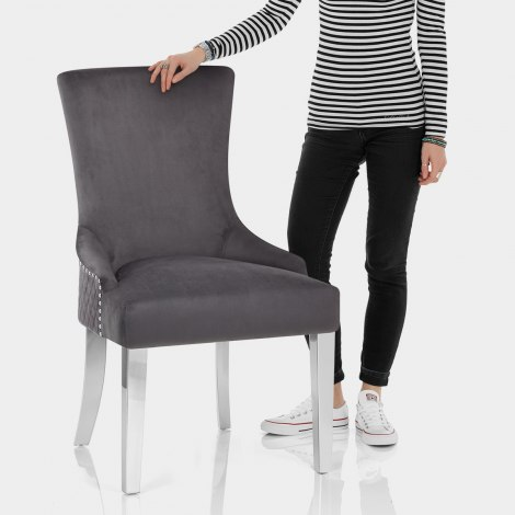 Fontaine Chair Grey Velvet Features Image