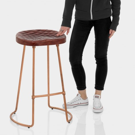 Foundry Copper Stool Brown Leather Features Image