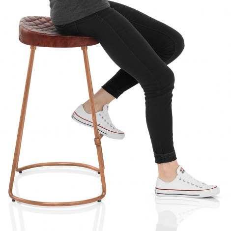 Foundry Copper Stool Brown Leather Frame Image