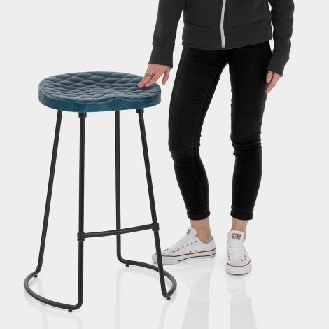 Foundry Industrial Stool Blue Leather Features Image