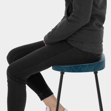 Foundry Industrial Stool Blue Leather Seat Image