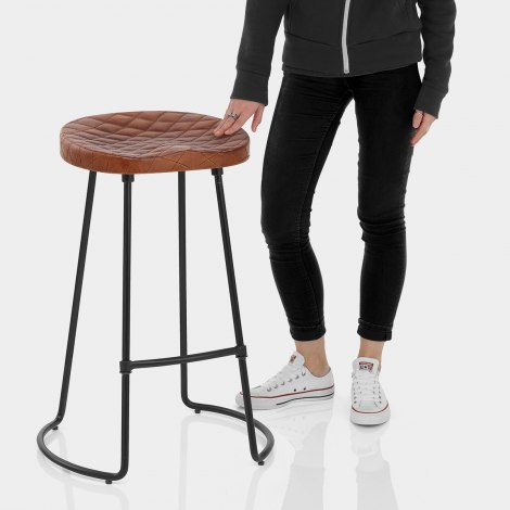 Foundry Industrial Stool Brown Leather Features Image