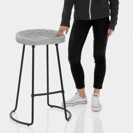 Foundry Industrial Stool Grey Leather Features Image