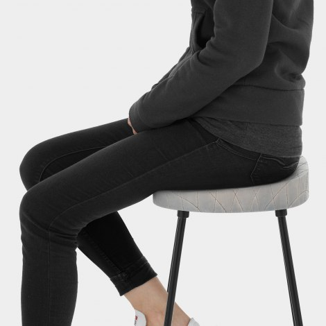 Foundry Industrial Stool Grey Leather Seat Image