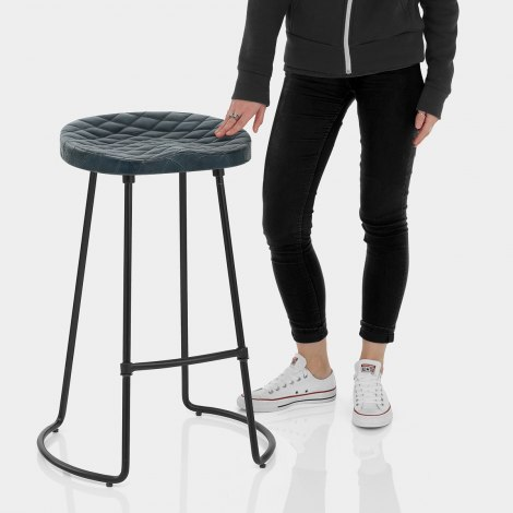 Foundry Industrial Stool Slate Leather Features Image