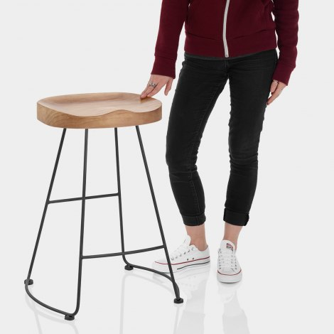 Freedom Black Stool Light Wood Features Image