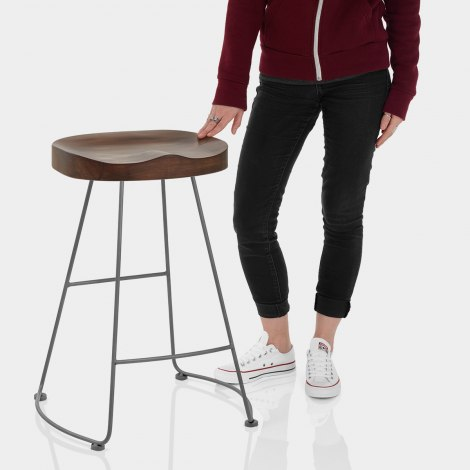 Freedom Grey Stool Dark Wood Features Image