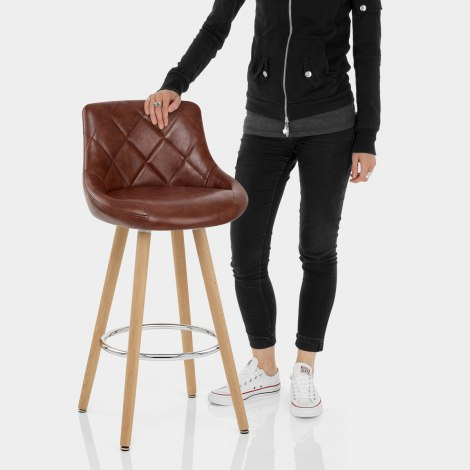 Fuse Wooden Stool Antique Brown Features Image