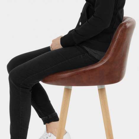 Fuse Wooden Stool Antique Brown Seat Image