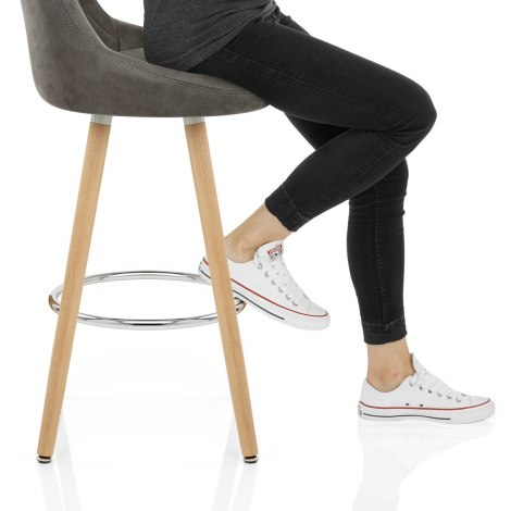 Fuse Wooden Stool Charcoal Seat Image