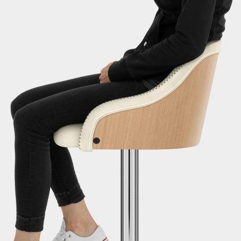 Fusion Oak Stool Cream Seat Image