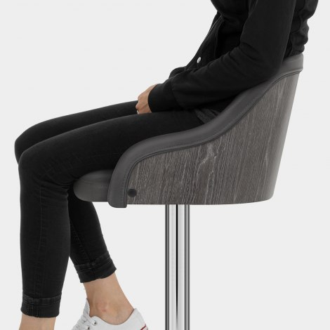 Fusion Wooden Stool Charcoal Seat Image