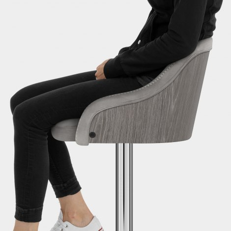 Fusion Wooden Stool Grey Velvet Seat Image