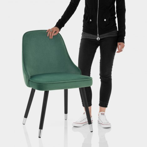 Glam Dining Chair Green Velvet Features Image