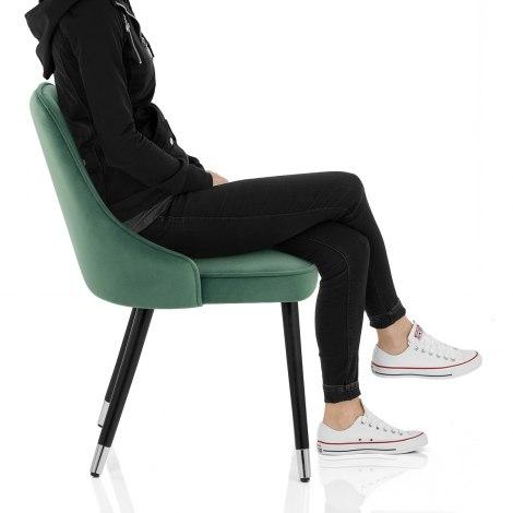 Glam Dining Chair Green Velvet Seat Image