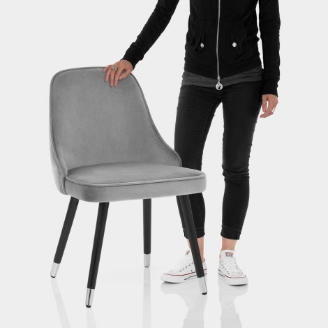 Glam Dining Chair Grey Velvet Features Image