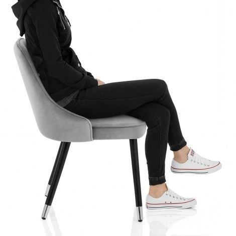 Glam Dining Chair Grey Velvet Seat Image