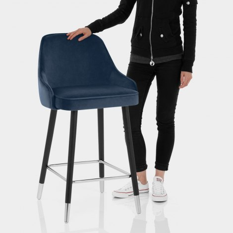 Glam Bar Stool Blue Velvet Features Image